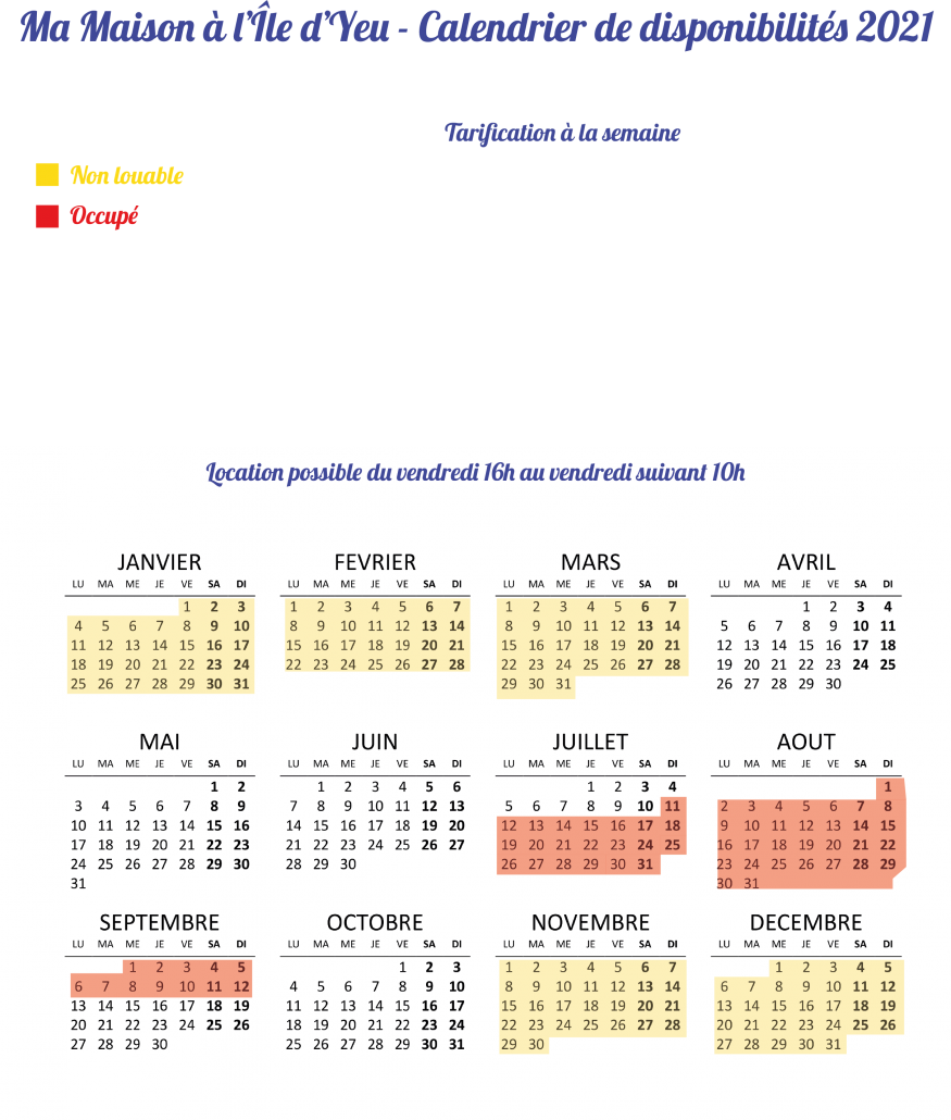 calendrier et tarification 2021